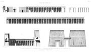 A Vol. I — Île de Philæ — Pl. 6 - 1.6. Coupe et élévation de la galerie de l'est 2.3.4.5. Élévation des deux colonnades et de l'édifice du sud 7. Élévation du premier pylône