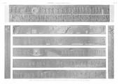 A Vol. I — Edfou (Apollinopolis Magna) — Pl. 58 - 1.2. Frises sculptées dans l'intérieur du portique du grand temple 3.4. Autres sculptures du portique