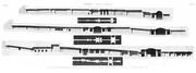 A Vol. II — Thèbes, Hypogées — Pl. 78 - 1.2. Plan et coupe du quatrième tombeau des rois à l'ouest 3.4. Plan et coupe du cinquième tombeau à l'ouest 5.6. Plan et coupe du cinquième tombeau à l'est