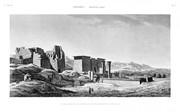 A Vol. II — Thèbes Medynet-Abou — Pl. 3 - Vue des propylées du temple et du pavillon, prise du côté du sud
