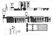 A Vol. II — Thèbes Medynet-Abou — Pl. 4 - 1. Plan et coupe longitudinale du temple et de ses propylées 2.3. Plan et coupe longitudinale du palais 5. Plan du pavillon