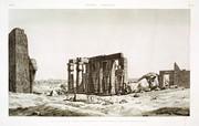 A Vol. II — Thèbes. Memnonium — Pl. 25 - Vue du péristyle du tombeau et des débris de la statue colossale d'Osymandyas, prise de l'ouest.