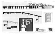 A Vol. II — Thèbes Memnonium — Pl. 39 - 1.2.3.4. Plan et coupes d'un grand hypogée ou syringe 5. Détail de scurpture d'un autre hypogée. 6.7.8. Plan et coupes d'un édifice ayant un plafond en forme de voute