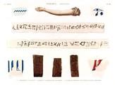 A Vol. II — Thèbes. Hypogées — Pl. 48 - 1.3.5.9. Fragmens coloriés 2.4. Bras et bandelette de momie 6.7.8. Briques portant des hiéroglyphes imprimés