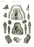 A Vol. II — Thèbes. Hypogées — Pl. 56 - Peintures d'enveloppes de momies et divers fragmens en bois peint, en pierre et en bronze