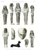 A Vol. II — Thèbes. Hypogées — Pl. 76 - Idoles et fragmens en bois de sycomore peints de diverses couleurs