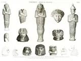 A Vol. II — Thèbes. Bybân el molouk — Pl. 81 - 1...6. Statues en fragmens de granit noir et de granit rouge trouvés dans les tombeaux des rois à l'ouest 7...15. couvercles de vases trouvés dans les hypogées