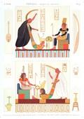 A Vol. II — Thèbes. Bybân el Molouk — Pl. 91 - 1.2. Tableaux de la salle des harpes dans le 5ème tombeau des rois à l'est 3...8. Peintures des tombeaux