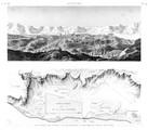 A Vol. IV — Antinoë — Pl. 54 - 1. Plan général des environs 2. Vue des ruines de la ville, prise du côté du sud-ouest
