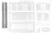 A Vol. V — Environs de Babylone. Le Kaire — Pl. 24 - 1. Fragment trouvé près de la porte du château du Kaire 2...10. Plans, coupe, élévation et sculptures extérieures d'un sarcophage en granit, trouvé à Qala't el Kabch, sous la mosquée de Touloun