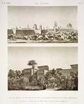 EM Vol. I — Le Kaire — Pl. 52 - 1. Vue du jardin du palais d'Elfy-Bey, quartier général de l'armée française. 2. Vue de la caravane de Tôr près la ville des tombeaux.