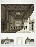 EM Vol. I — Le Kaire — Pl. 55 - 1...3. Coupes et vue intérieure d'une grande salle de la maison de Hasan Kâchef, destinée aux séances de l'institut. 4. Détail d'une porte de la cour.
