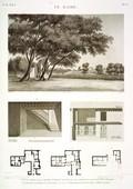 EM Vol. I — Le Kaire — Pl. 57 - 1. Vue du jardin de la maison de Hasan Kâchef ou de l'institut. 2.3.4. Plans de la maison d'Ybrâhym Kykheyd el Sennary. 6.5.5' Vue intérieure et coupe de la même maison.