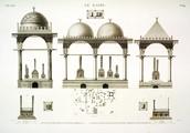 EM Vol. I — Le Kaire — Pl. 64 - 1. Plan d'une partie de la ville des tombeaux. 2...9. Plans et élévations de plusieurs tombeaux de Mamlouks.