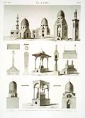 EM Vol. I — Le Kaire — Pl. 65 - Vue et détails dessinés dans la ville des tombeaux.