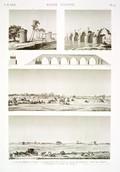 EM Vol. I — Basse Égypte — Pl. 74 - 1.2. Vues de Birket el Hâggy. 3.4. Élévations et coupe du pont de Beysous. 5. Pont de Chybyn. 6. Tourelles contre les arabes.