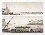 EM Vol. I — Rosette et environs — Pl. 81 - 1. Vue de la ville de rosette et de l'île de Farcheh. 2. Vue du Boghâz ou embouchure du Nil.
