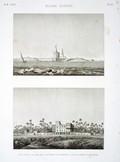 EM Vol. I — Basse Égypte — Pl. 83 - 1. Vue d'une maison des environs de Rosette. 2. Vue du fort d'Abouqyr