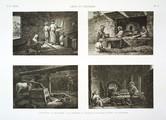 EM Vol. II — Arts et métiers — Pl. X - 1. Le meunier 2. Le boulanger 3. Le confiseur ou fabricant de pâtes sucrées 4. Le pâtissier