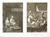 EM Vol. II — Costumes et portraits — Pl. C - 1. Almés ou danseuses publiques 2. Santons d'Abyssinie et de Constantinople