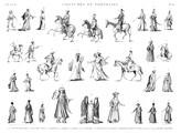 EM Vol. II — Costumes et portraits — Pl. K - 1.2.4.11 Costumes militaires 3. Janissaire 5.8. Beys 7.17. Mamlouks 12.15. Arabes 13.14. A'Lmés 16.18.20.21. Cheykhs 25.27. Femmes dans le harem 26. Mariée 28. Écrivain copte 6.9.10.19.22.23.24.29.30. Divers costumes