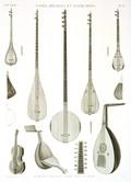 EM Vol. II — Vases, meubles et instrumens — Pl. AA - Instrumens orientaux à corde connus en Égypte