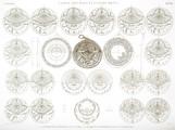 EM Vol. II — Vases, meubles et instrumens — Pl. IIII - 1...9 Astrolabe Koufique en cuivre 10...27 Plaques enfermées dans l'astrolabe