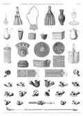 em Vol. II — Vases, meubles et instrumens — Pl. II - 1...6 Vases 7...16. Paniers et ouvrages en feuilles de palmier 17.18. Lanterne 19...42. Sygy (jeu), ouvrages en peau, pipes