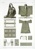 EM Vol. II — Vases, meubles et instrumens — Pl. LL - 1.2.3. Robe d'almé en soie rouge 4. Borqo' ou voile 5. Robe commune 6.7.8. Couvertures en soie 9. Ceinture 10. Aiguille