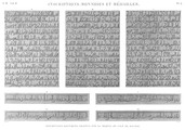 em Vol. II — Inscriptions, monnoies et médailles — Pl. b - Inscriptions koufiques gravées sur le Meqyâs de lÎle de Roudah